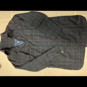 Plaid trench jacket size xs navy